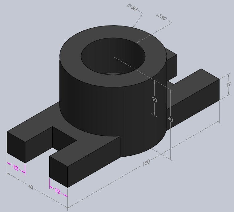 Part Drawing With Dimension To Practice In Pro E Autocad